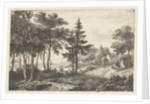 Landscape with fir tree and horsema by Pieter Casper Christ