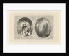 Two ovals with young and old couple by Frans Buffa en Zonen