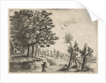Landscape with a woman and a flute-playing shepherd by Frans van den Wijngaerde