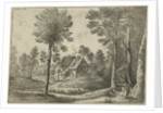 Landscape with a flute-playing shepherd at a farm by Lucas van Uden