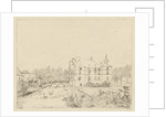Side view of the castle Cannenburch with houses in the access by baron Reinierus Albertus Ludovicus van Isendoorn a Blois