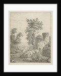 Landscape with river and water wheel by Frederik de Moucheron
