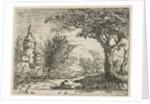 Landscape with a round tower by baron Reinierus Albertus Ludovicus van Isendoorn à Blois