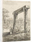 Two posts, with a bar above it, in the water by Anonymous