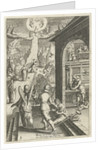 Emblem with man prepares himself with good deeds in a prayer to God by Hendrik Aertssens