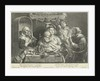 A mother sits with a small child playing flute on her lap on a set table by Schelte Adamsz. Bolswert