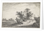 Four figures on an increase in a landscape by Anthonie Waterloo