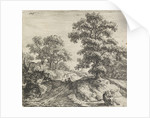 A rolling landscape, left two figures walking on a trail along a large oak tree by Anthonie Waterloo