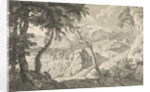 Arcadian landscape with two shepherds by Johannes Glauber