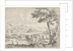 Hilly landscape with shepherds by Johannes Glauber
