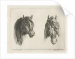 Two horse heads by Jacobus Cornelis Gaal