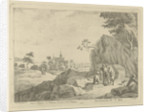 Landscape with travelers and shepherds by Jan Lauwryn Krafft I