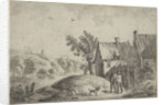 Right two houses in a landscape, two men and a dog, on the hill a gallows with a hanged man by Jan Lauwryn Krafft I