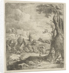 Landscape with village and two men in a tree by Jan Lauwryn Krafft I