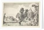 Figures on a country road near a church ruin by Jan van de Velde II