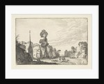 Figures on a road between the houses of a village, church and two seated figures by Jan van de Velde II