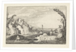 Excursion on a path in a mountainous river landscape by Jan van de Velde II