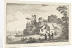 Figures on a country road near a farm by Jan van de Velde II