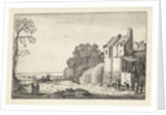 Figures at a house and covered wagons on a country road by Jan van de Velde II