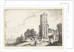 Clergy on a path near a ruined church and in the background a village by Jan van de Velde II