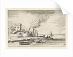 Landscape with a lighthouse in a port by Jan van de Velde II