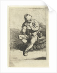 Man sitting on tons with jar owned by Cornelis Pietersz. Bega