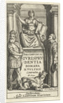 Justice enthroned on base between mental and emperor, Romulus and Remus suckled by the wolf by Lowijs Elzevier III