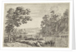 Landscape with wooden bridge by Herman van Swanevelt