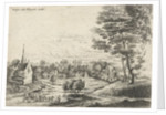 View of a village with a covered wagon by Lucas van Uden