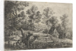 Landscape with a house and a well, in the foreground a flute-playing shepherd with his dog by Lucas van Uden