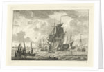 Seascape with various vessels by Gerrit Groenewegen