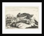 Dogs hunt a boar by Peeter Boel
