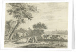 Landscape with cows by Cornelis van Noorde