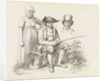 Study Sheet with a fisherman, a woman and a bust of a man by Jacob Ernst Marcus