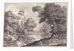 Landscape with hunter who hunts ducks by Alexander Voet I