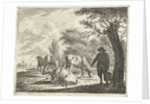 Meadow Landscape with man bucket with three cows by Cornelis Bisschop