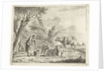 Landscape with woman with milk bucket and three cows near farm by Cornelis Bisschop