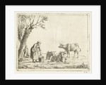 Landscape with woman with milk bucket with three cows by Cornelis Bisschop