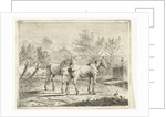 Meadow Landscape with two horses at bridge and farm by Cornelis Bisschop