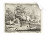 Landscape with a horse and two cows in farm water by Cornelis Bisschop