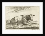 Landscape with reclining cow without horns by Cornelis Bisschop