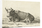 Landscape with reclining cow with horns by Cornelis Bisschop