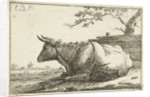 Landscape with reclining cow by Cornelis Bisschop