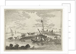 A herd of cows on the waterfront, some with their feet in the river by Anthonij van der Haer