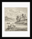 Riverview with two boats at a village by Anthonij van der Haer