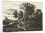 Forest landscape with woman and boy on the way by Johannes Adrianus van der Drift
