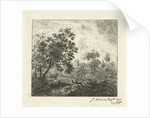 Landscape with a river and a tree stump by Johannes Adrianus van der Drift