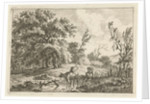 Landscape with bull and herdsman by Hermanus Fock