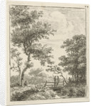 Landscape with two men on a bridge by Hermanus Fock