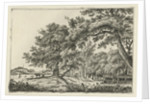 Landscape with two cows in the shade by Hermanus Fock